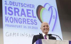 Der israelische Botschafter in Deutschland, Yoram Ben-Zeev, spricht am Sonntag in Frankfurt im Rahmen des 1. Deutschen Israel-Kongresses. (Foto: Martin Oeser/ dapd)