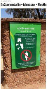 Das beigefügte Bild wurde in Agadir aufgenommen und auf Facebook verbreitet (typisch ist die Lehmmauer, an der das Schild auf Arabisch und Französisch hängt)