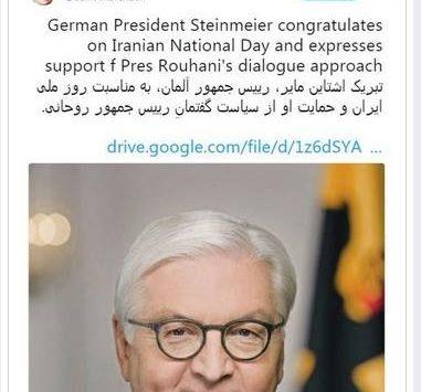 Deutscher Botschafter in Teheran und Frank-Walter Steinmeier gratulieren zum Jahrestag zur iranischen Revolution.   STOP THE BOMB