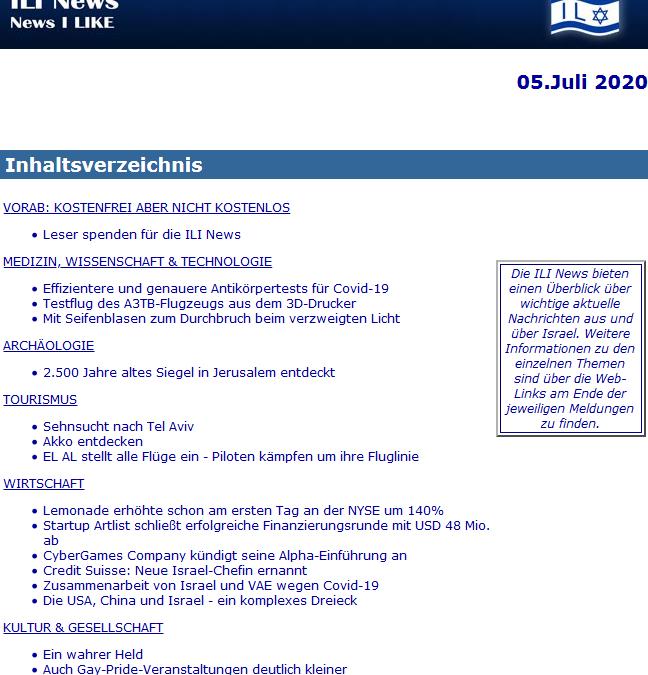 AUF KEINEN FALL VERPASSEN: ILI News am 05. Juli 2020 | ILI – I Like Israel e.V.