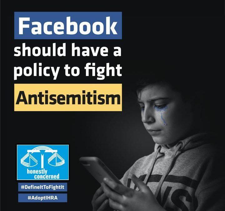 Wir, zusammen mit 127 Organisationen, fordern von Facebook Annahme der IHRA-Antisemitismusdefinition!