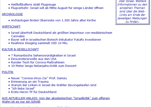 EINZIGARTIG IN DIESER KOMPAKTEN FORM UND SEHR ZU EMPFEHLEN: ILI News am 02. August 2020 | ILI – I Like Israel e.V.